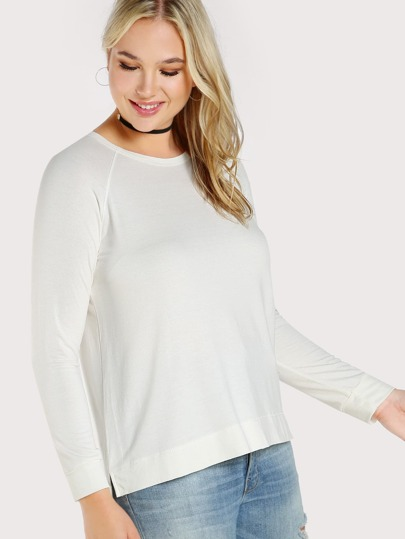 Solid Long Sleeve Stepped Hem Top