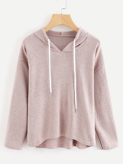 Drop Shoulder Dip Hem Hooded Sweater