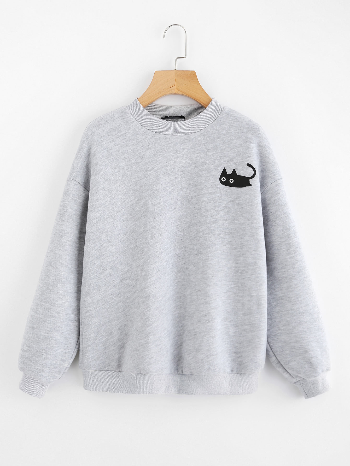 Cat Print Heather Knit Pullover кенгуру huf genuine pullover hood gray heather