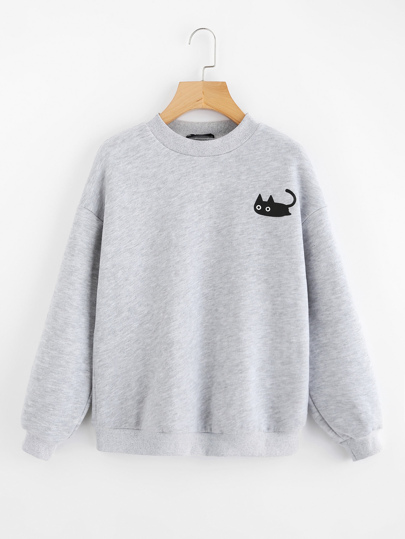 Pull-over tricoté imprimé chat