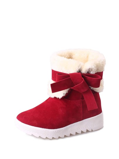 Faux Fur Bow Design Short Boots