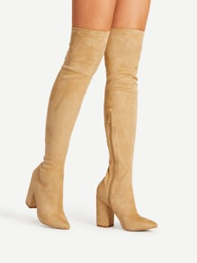 Block Heeled Over The Knee Boots