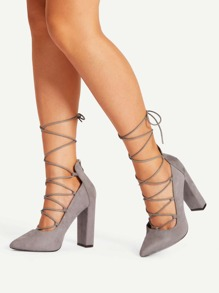 Point Toe Lace Up Heeled Shoes