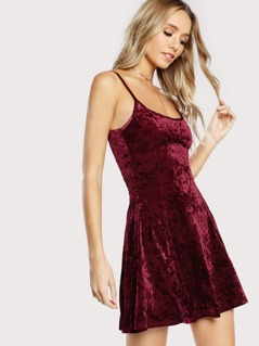 Crushed Velvet Cami Mini Dress BURGUNDY