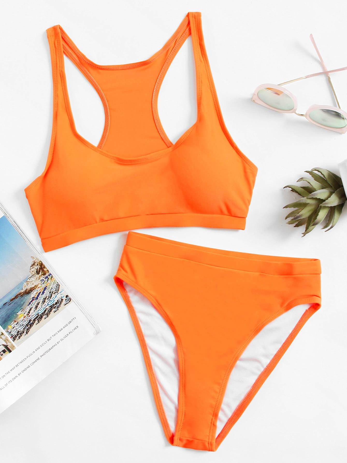 Фото Racerback High Waist Bikini Set checker knot bikini set