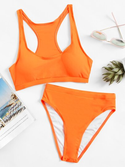 Racerback High Waist Bikini Set