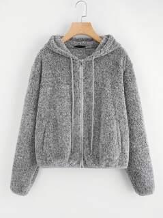 Zip Up Fuzzy Hoodie Jacket