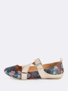 Strappy Floral Print Flats BLUE