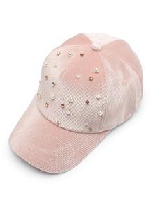 Faux Pearl Corduroy Baseball Cap