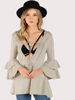 Layered Front Tie Knitted Sweater BEIGE