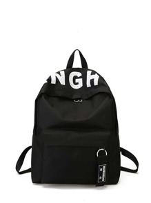 Zipper Front Letter Print Canvas Backpack