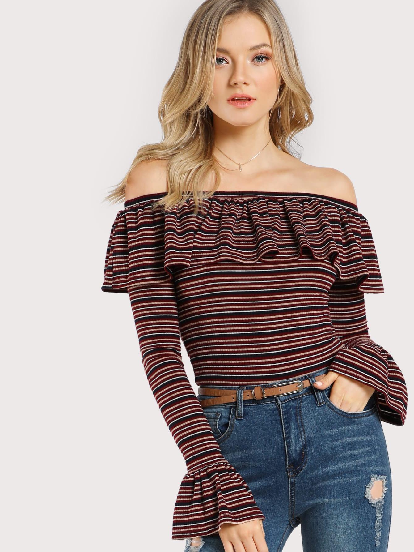 Rib Knit Striped Frill Off Shoulder T-shirt teemmc170927701