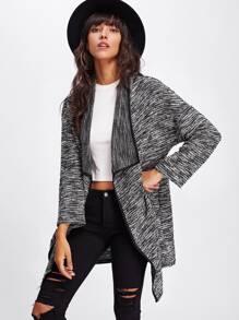 Contrast Binding Drape Collar Marled Knit Coat