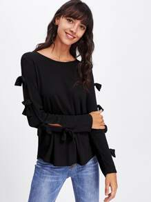Knotted Bow Slit Sleeve Solid Tee