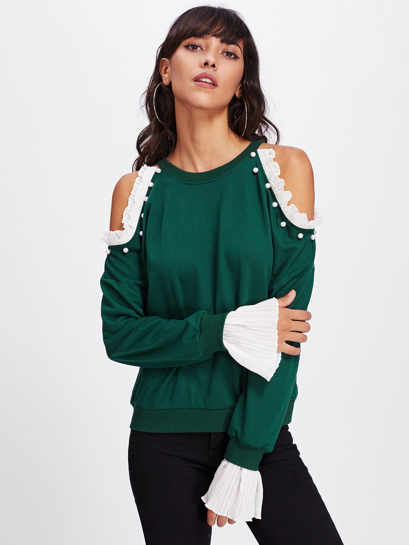 Pearl Beading Pleated Ruffle Detail Pullover pearl beading frill detail sweatshirt