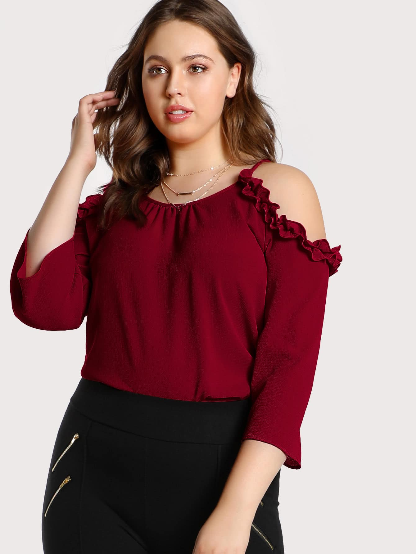Plus Frilled Cold Shoulder Top