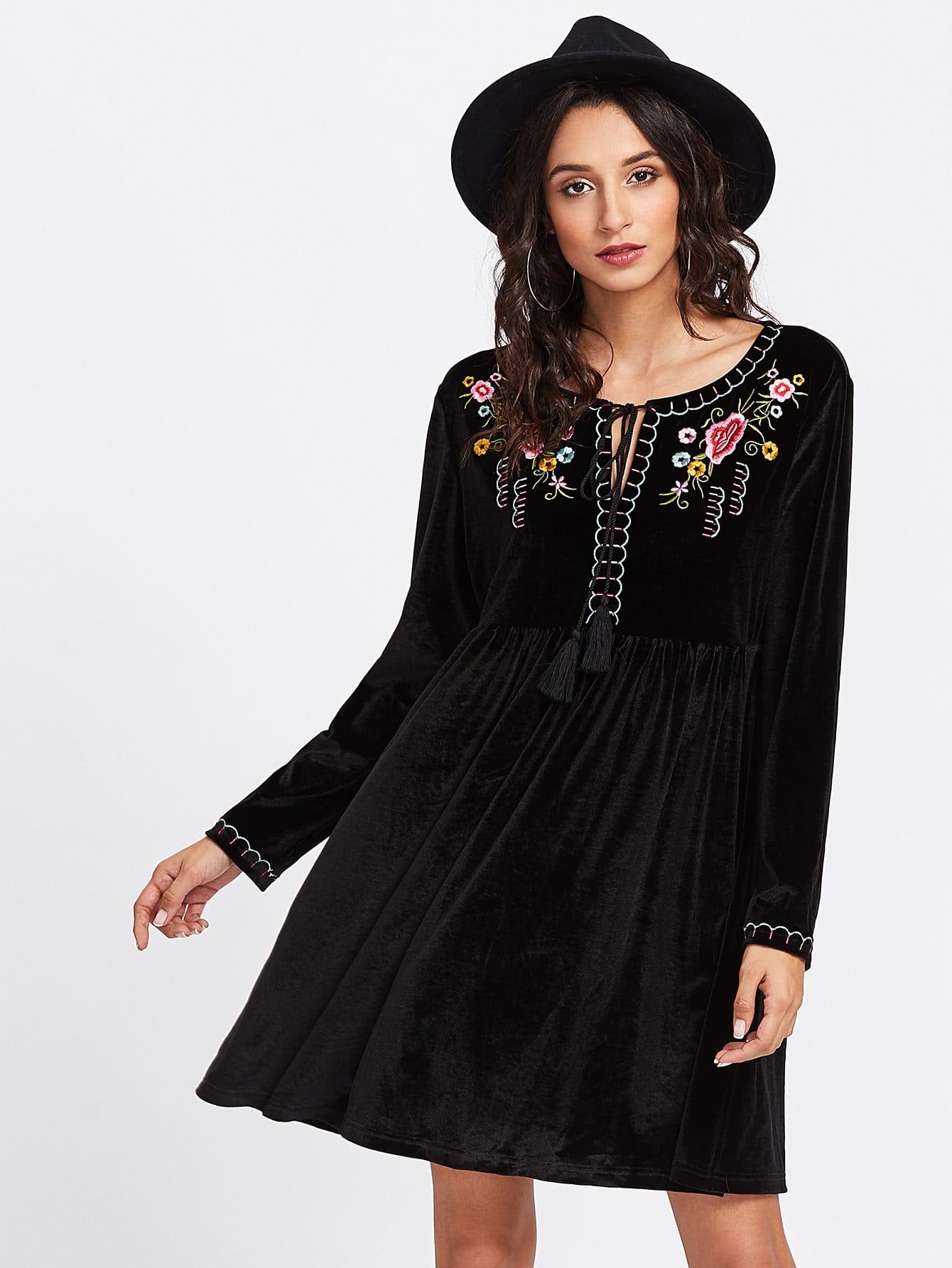 Tassel Tie Neck Embroidered Velvet Smock Dress