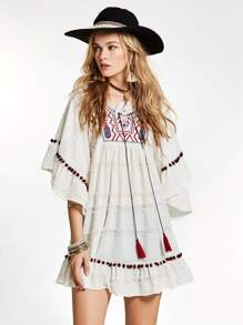 Embroidered Fringe Tie Pompom Detail Frill Dress