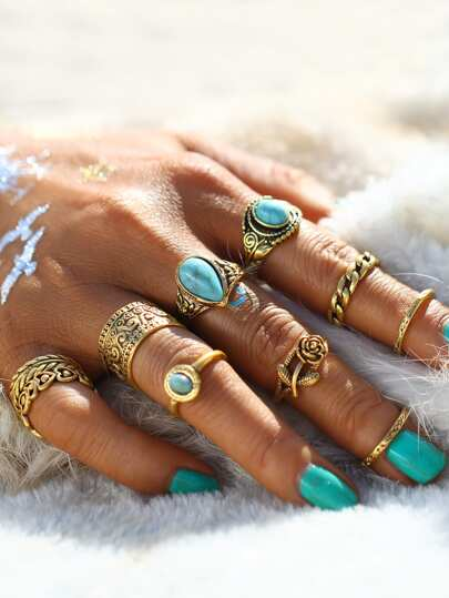 Hollow Design Ring Set With Turquoise