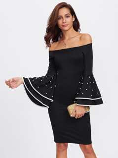 Pearl Beading Layered Cuff Slit Fitted Dress