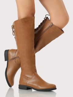 Faux Leather Grommet Lace Up Boots TAN