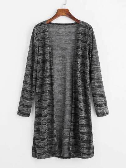 Striped Marled Knit Long Cardigan