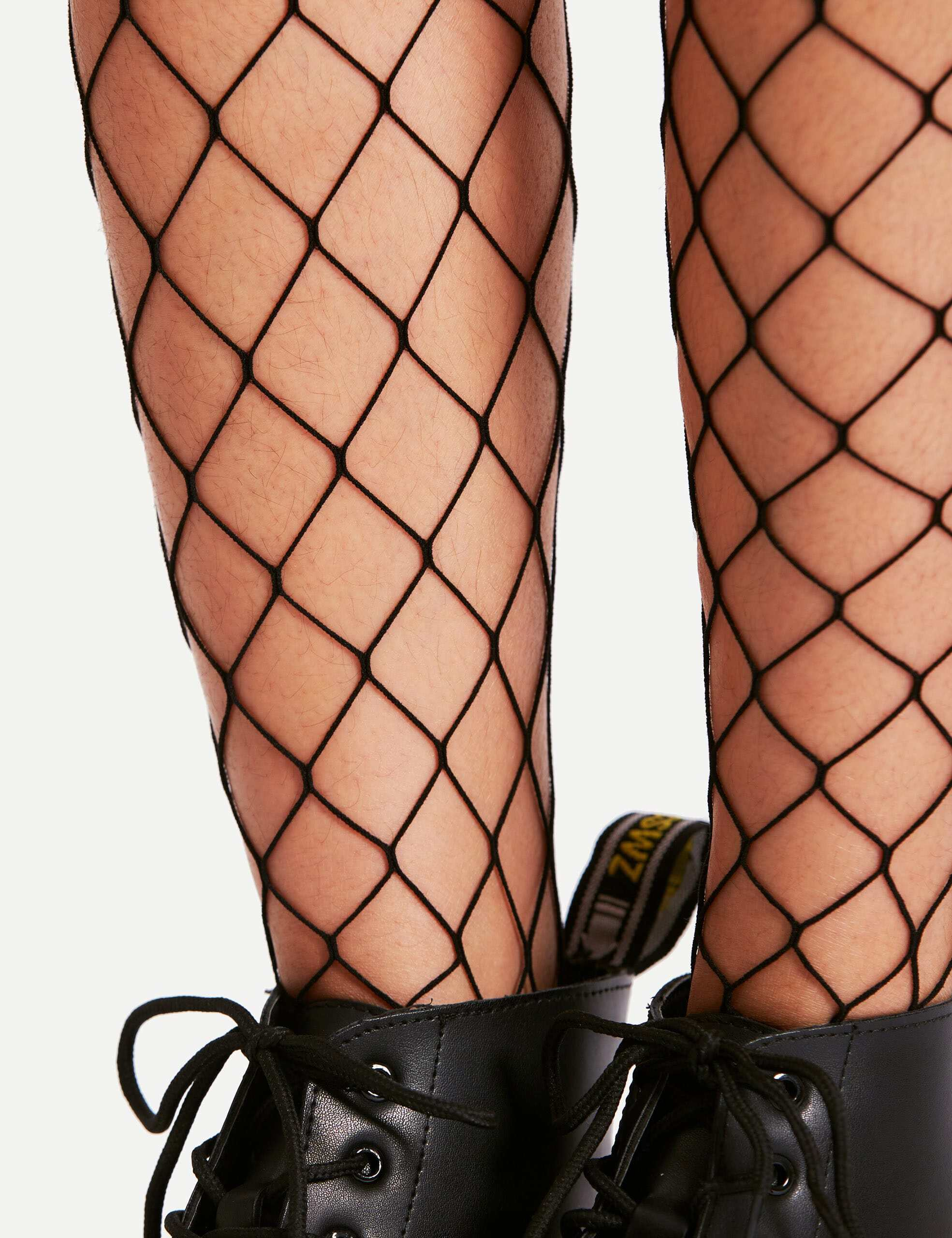 Over The Knee Fishnet Socks lace trim over the knee fishnet socks