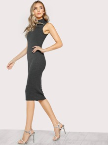 High Neck Sleeveless Ribbed Bodycon Dress CHARCOAL