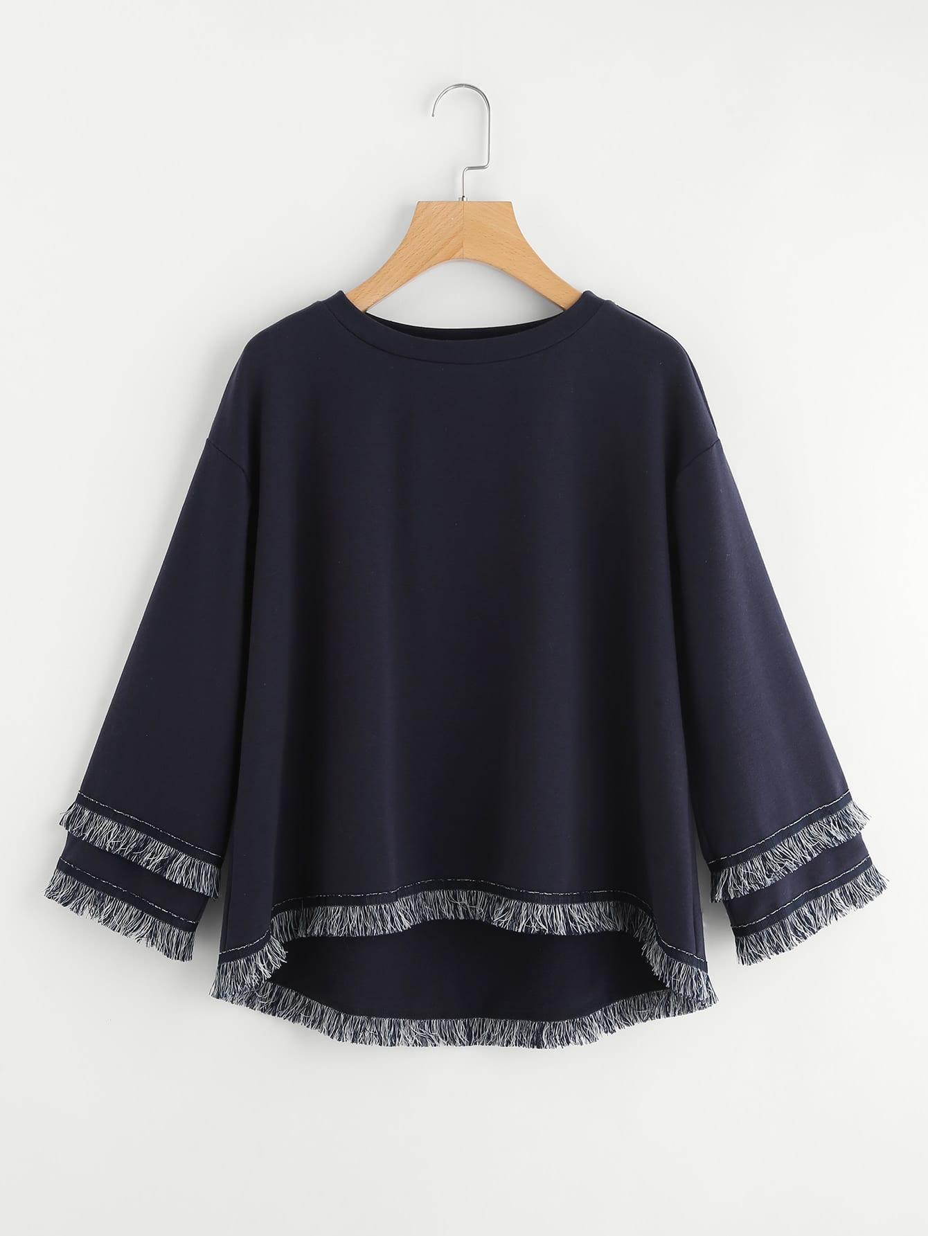 Tiered Fringe And Tape Patch Trim Dip Hem Sweatshirt drop shoulder fringe trim sweatshirt