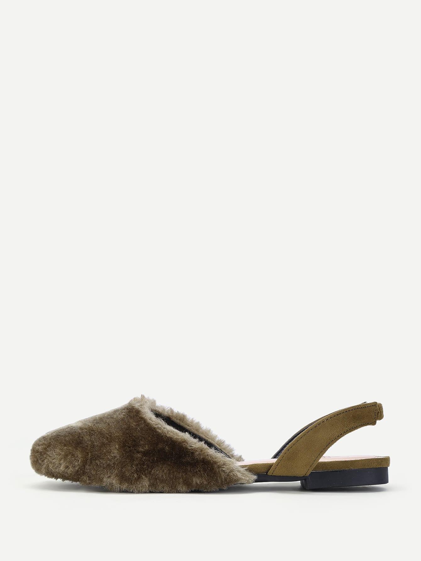 Faux Fur Slingbak Flats