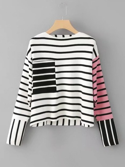 Front Pocket Striped Knitwear