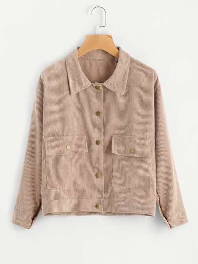 Single Breasted Dual Pocket Corduroy Jacket