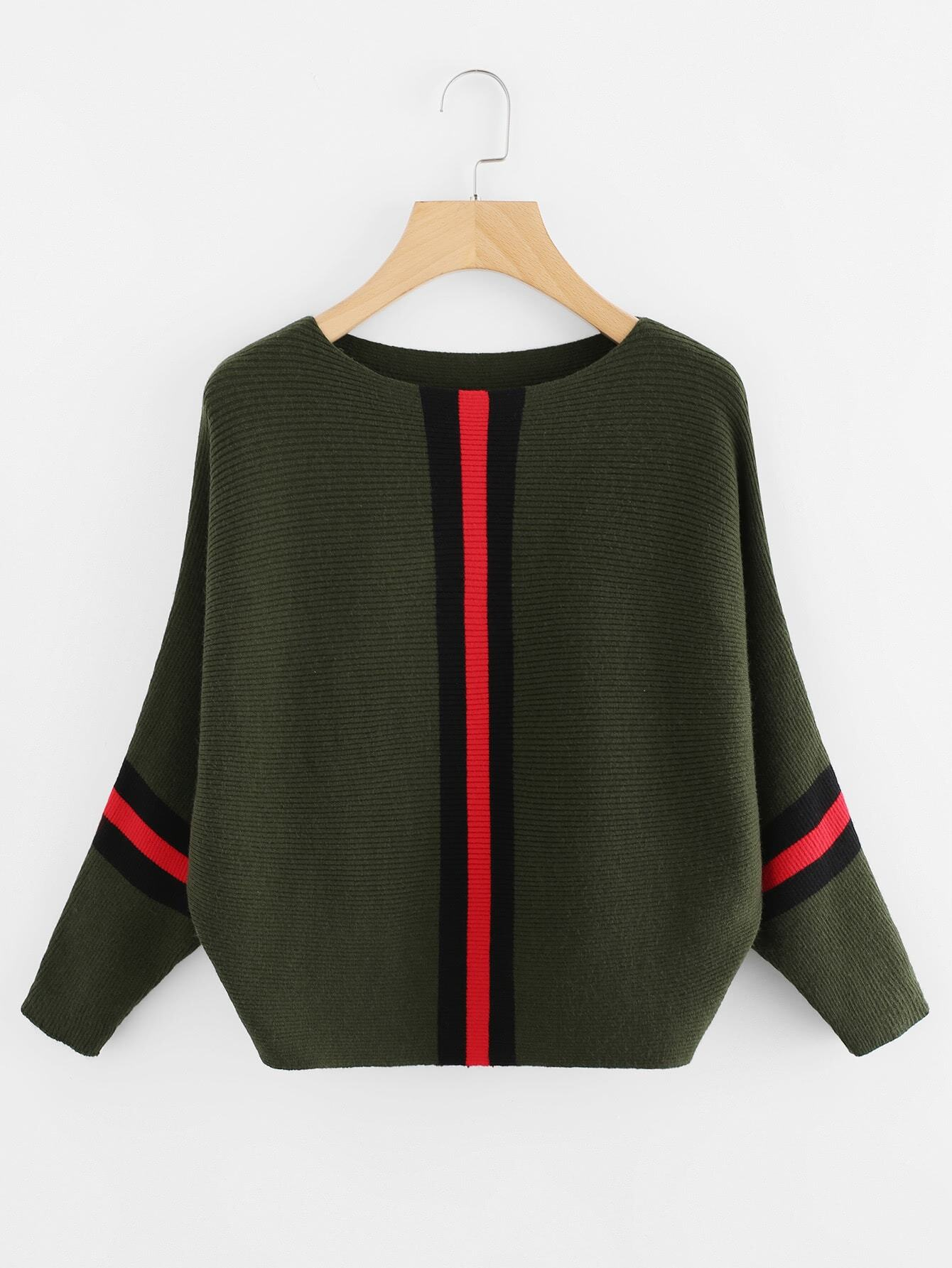 Contrast Striped Panel Ribbed Sweater sweater171013002