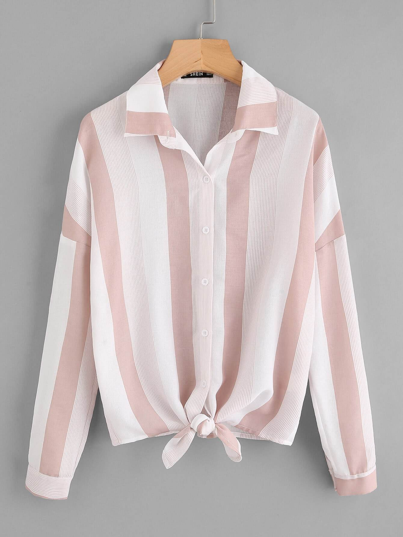 Roll Tab Sleeve Knot Front Mixed Striped Blouse roll tab sleeve knotted hem striped shirt