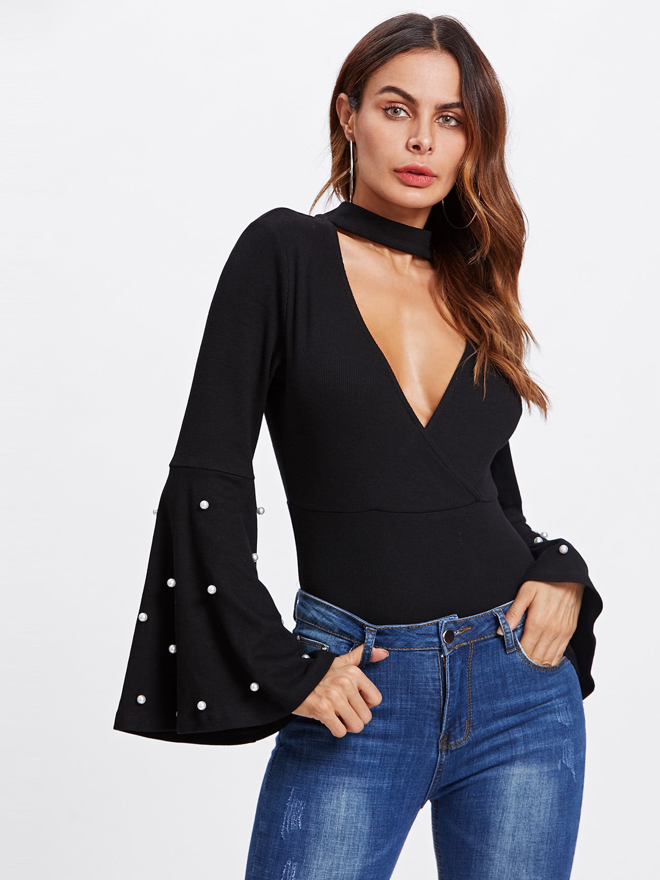 Pearl Detail Bell Sleeve V Chock Neck Bodysuit pearl detail bell sleeve v chock neck bodysuit