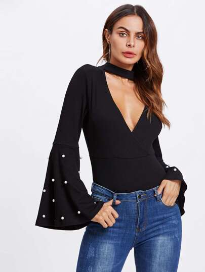 Pearl Detail Bell Sleeve V Chock Neck Bodysuit
