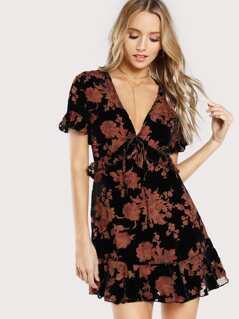 Velvet Burnout Floral Print Ruffle Dress BLACK