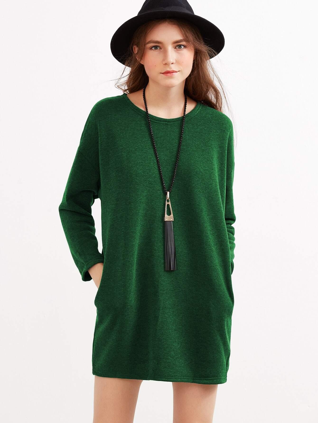 Drop Shoulder Pockets Dress two tone drop shoulder sweatshirt