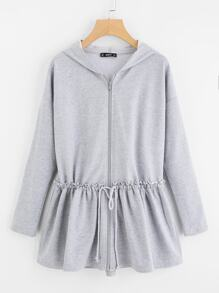 Drop Shoulder Drawstring Ruffle Hem Hoodie Jacket