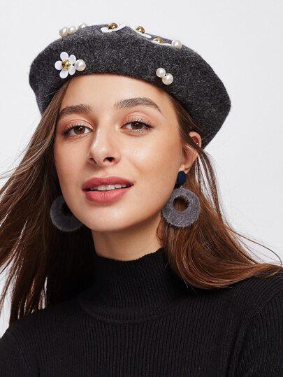 Flower & Faux Pearl Beret Cap