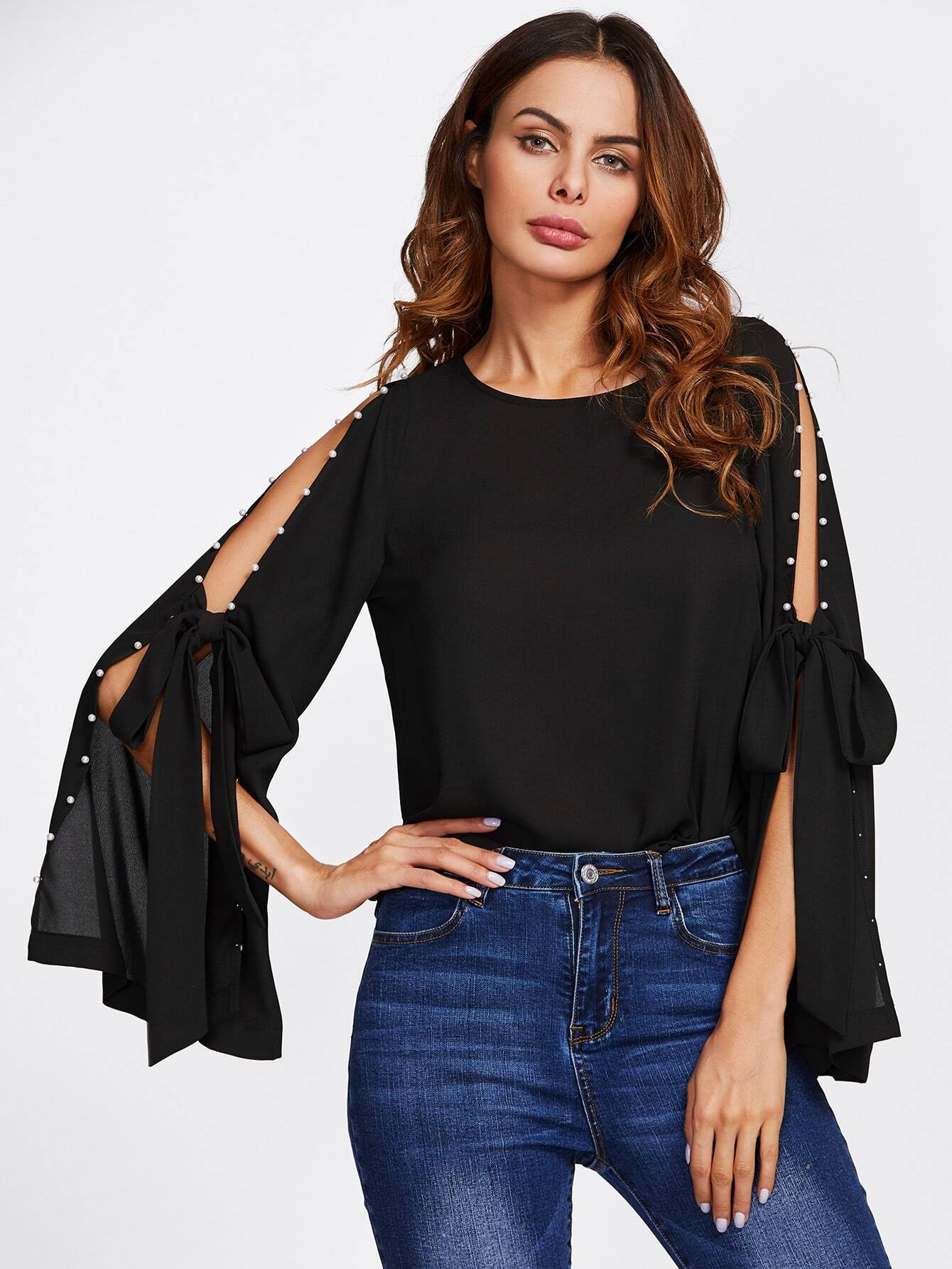 Pearl Bow Tied Slit Bell Sleeve Top pearl detail layered bell sleeve ribbed top