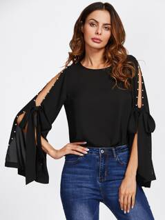 Pearl Bow Tied Slit Bell Sleeve Top