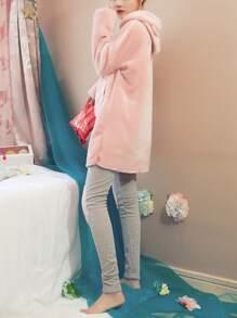 ملابس المنزلية الطويلة مع قبعة لون ؤردي