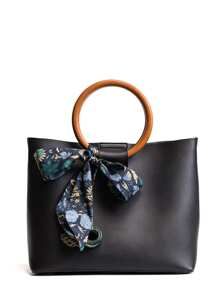 Double O-Ring Handle Tote Bag With Twilly Scarf