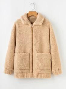 Front Pocket Faux Shearling Coat