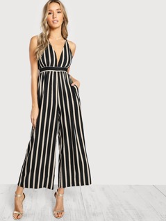 Striped Cami Jumpsuit BLACK