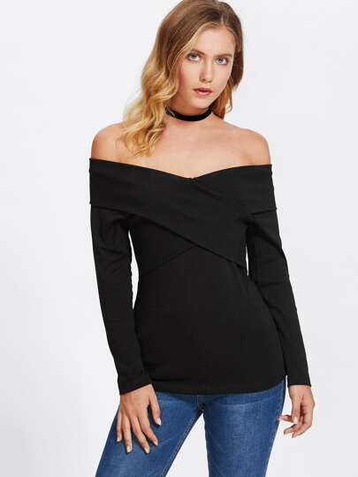 Fold Over Crisscross Solid Top