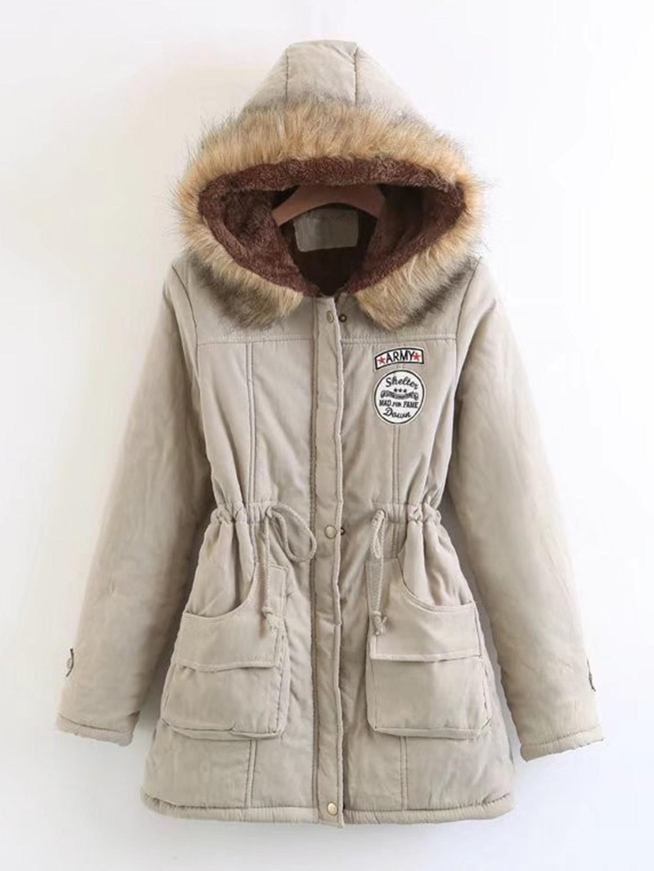 Faux Fur Drawstring Waist Parka Coat faux fur lined parka coat