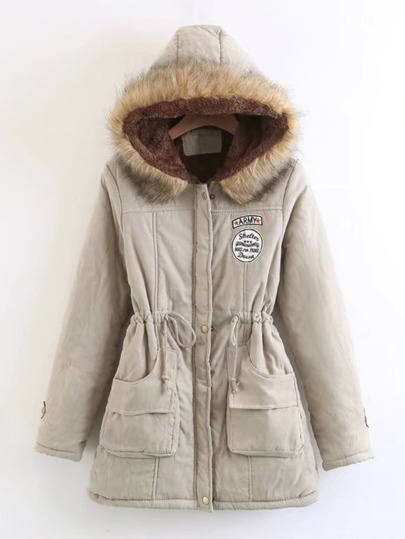 Faux Fur Drawstring Waist Parka Coat