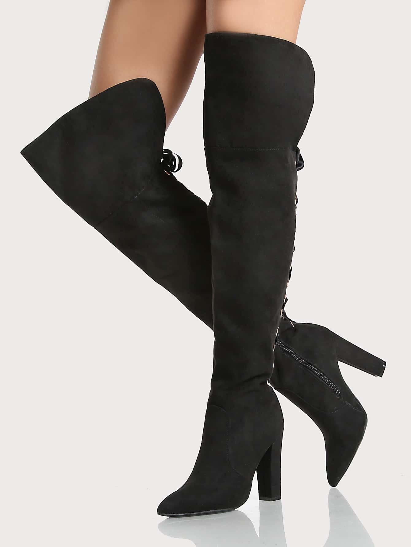 Back Lace Up Faux Suede Point Toe Boots BLACK point toe faux fur ankle boots